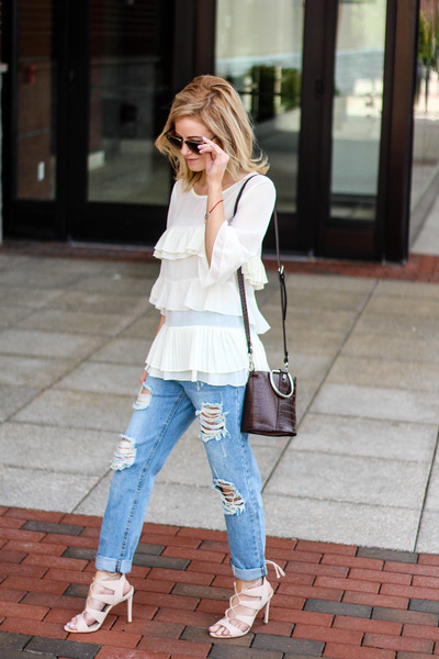 neutral Sheinside top - blue Sheinside jeans - dark brown Zara bag