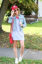 heather gray Mint Julep dress - red Rutgers hat - light blue Mossimo jacket