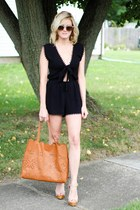camel street level bag - camel ray-ban sunglasses - black Forever 21 romper