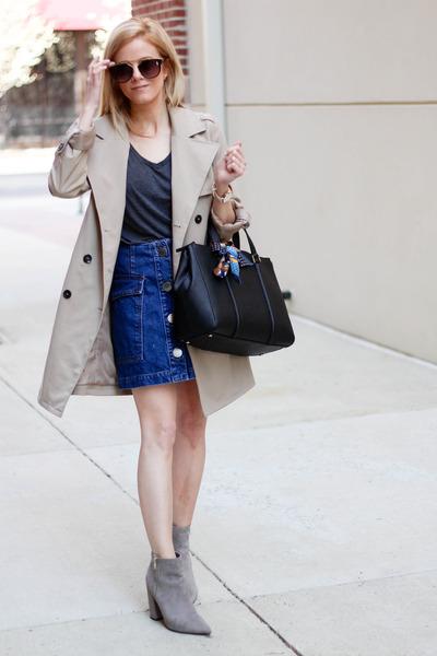 black kate spade bag - gray Forever 21 boots - camel H&M jacket