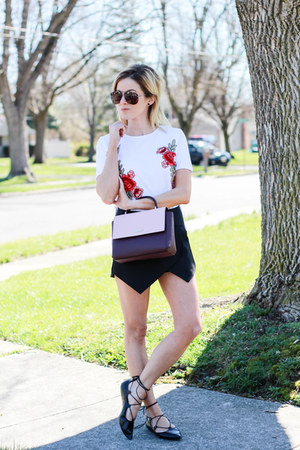 white Sheinside top - maroon kate spade bag - black Sheinsidecom shorts