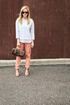 gray JCrew sweatshirt - dark brown Louis Vuitton bag - sunglasses