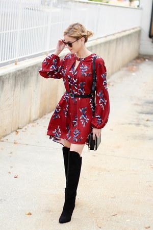 black Forever 21 boots - maroon Sheinside dress - black Topshop bag
