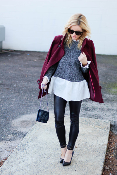 gray Sheinside sweater - crimson Thread and Supply jacket - navy Chanel bag