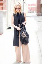 black boho bags bag - black Aldo sunglasses - camel Missguided pants