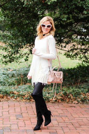 black Forever 21 boots - eggshell Sheinside sweater - neutral balenciaga bag