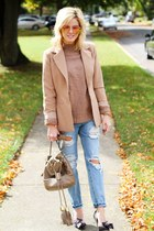 tan Missguided blazer - light blue Sheinside jeans - tan Love by Design sweater