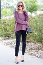 Magenta-silver-jeans-sweater-black-silver-jeans-pants