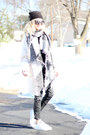 White-forever-21-coat-black-juicy-couture-hat