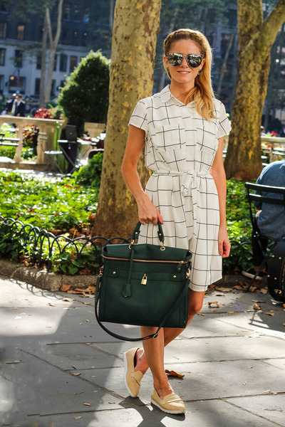 dark green Angela Roi bag - white Lemonpop dress - silver Freyrs sunglasses
