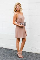 camel naked zebra dress - dark brown tory burch bag - camel Valentino heels