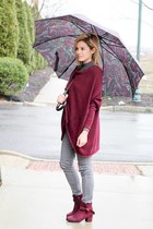 maroon En Creme top - maroon Beast Fashion boots - heather gray Fire Jeans pants