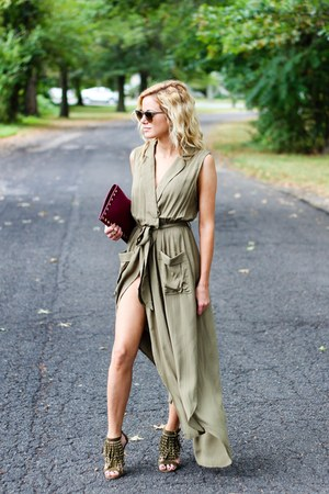 army green Sheinside dress - maroon Sondra Roberts bag