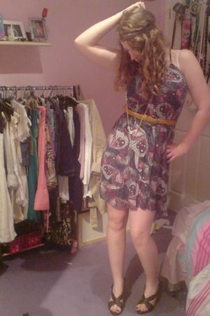 vintage dress - next belt - Lime shoes