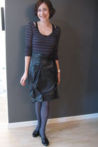 black vintage skirt - gray joe fresh style tights - black winners shirt - black