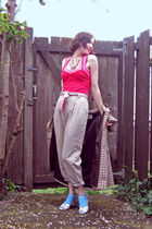 beige thrifted pants - pink Smart Set top - pink Urban Planet top - pink thrifte