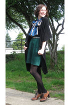 black winners cardigan - green thrifted skirt - brown naturalizer shoes - gray t