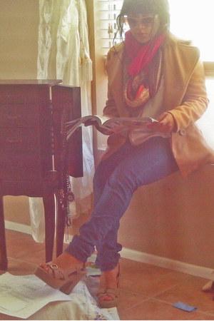 camel Gap coat - blue Harlequin jeans - hot pink silk scarf
