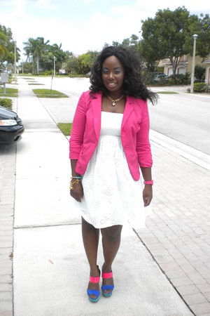 hot pink knitwear apostrophe blazer - white cotton Meet Mark dress