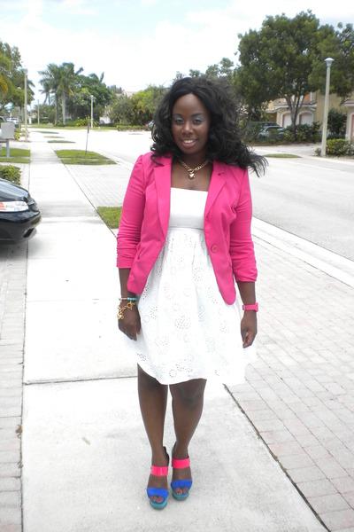 hot pink knitwear apostrophe blazer - white cotton Meet Mark dress