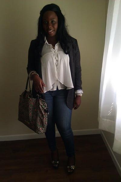 dark gray Gap blazer - blue YMI jeans - dark green Betsey Johnson bag
