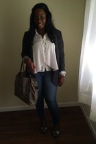 dark gray Gap blazer - blue YMI jeans - dark green Betsey Johnson bag