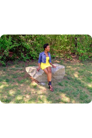 yellow ripped Symphony dress - blue denim Rue 21 jacket