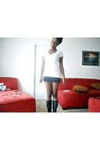white white BCBGMAXAZRIA top - black black Express shorts