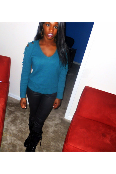 leather pants jeans - cut Old Navy sweater