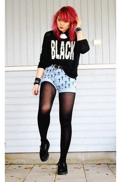 black creepers Underground shoes - black sweater - periwinkle diy shorts