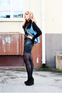 Silver-clock-necklace-black-leather-tail-dress-light-blue-denim-vest