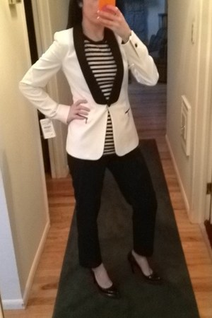 white tuxedo Zara jacket - black striped vince top - black platform Gucci heels