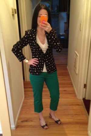 green cropped Old Navy jeans - navy stars Zara blazer - white v-neck Gap t-shirt