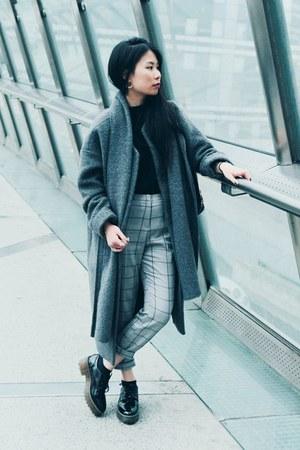 black Monki shoes - gray Monki coat - black Monki sweater - gold Monki earrings