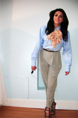 blue Stole this from my Boyfriend shirt - beige vintage pants - orange thrift sc