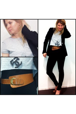 super long Zoa leggings - H&M blazer - cropped H & M shirt - waisted H&M belt -