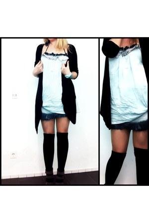 overknee asos socks - dip dye asos skirt - long H&M cardigan - suede asos heels