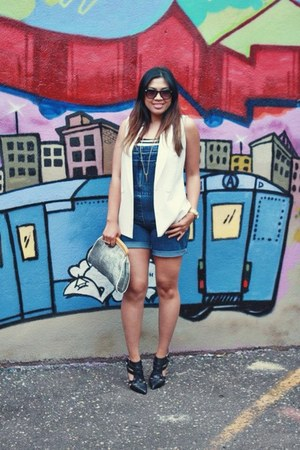 overalls thrifted jumper - vintage purse - f21 vest - bw striped top f21 top
