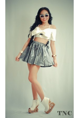 white bandeau tnc top - heather gray skater skirt tnc skirt