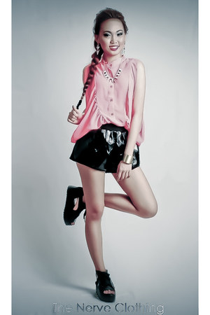 black boxer shorts tnc shorts - bubble gum tnc blouse - black tnc sandals