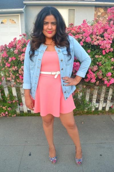 17425edd546 pink G stage dress - denim Forever 21 jacket - multi colored Steve Madden  heels