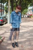 black boots - sky blue jeans - dark gray skirt