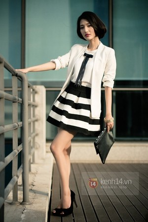 black dress - white blazer - charcoal gray bag - black heels