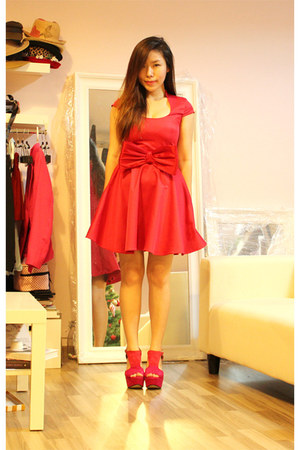Rubi shoes wedges - Flauntcc dress - H&M belt