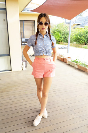 dog denim Retro Safari top - Windsor Smith shoes - zipia shorts