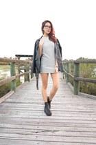 striped Stylenanda dress - lipstick boots - Stylenanda jacket