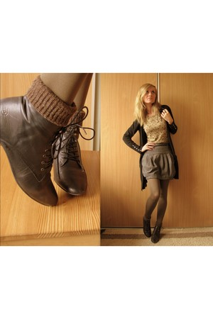 black Primark cardigan - camel Zara top - charcoal gray River Island skirt - bla