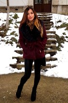 brick red flurry H&M coat - black Jeffrey Campbell boots