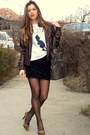 Black-zara-skirt-dark-brown-leather-terranova-jacket
