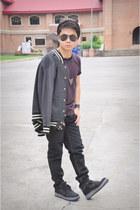 black jordan shoes - heather gray Penshoppe jacket - purple Beautology shirt